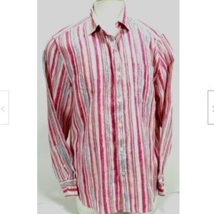 Tommy Bahama Mens Shirt Sz Large Striped Excellent